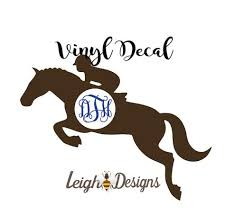 For Tumblers Car Windows Equestrian Bumper Sticker Horse Girls Gift Laptops Custom Horse Monogram Vinyl Decal