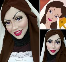 uses her hijab to turn herself into
