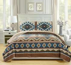 blue brown southwest coverlet quilt cal