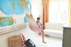 Baroque Double Hammock With Stand In Kids Farmhouse With Teen Boys Bedroom Ideas Next To Teen Bedroom Paint Alongside Fun And Young Kids Room And Indoor Hanging Plants