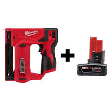 Milwaukee M12 12 Volt Lithium Ion Cordless 3 8 In Crown Stapler With 4 0 Ah M12 Battery 2447 20 48 11 2440 The Home Depot
