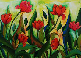 Dancing Tulips Painting by Peggy Davis