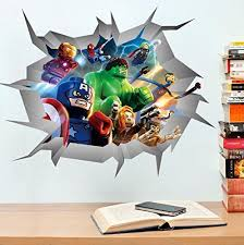 Marvel Avengers Whole Room Decal Decor Set Iron Man Hulk Captain America Thor Lego Break Through Wall Che Decal Wall Art Baby Wall Stickers Wall Decor Decals