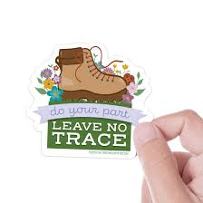 Amazon Com Leave No Trace Hiking Sticker For Hydroflask Cute Die Cut Outdoors Nature Vinyl Decal For Laptop 3 Pnw Bumper Sticker Handmade