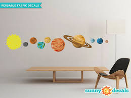 Solar System Fabric Wall Decals Set Of 9 Planets And Sun Fabric Wall Decals Wall Stickers Planets Wall Stickers Space