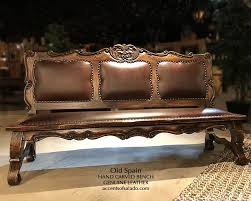 old world style leather dining benches