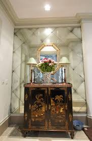 antique mirror glass hall alcove by
