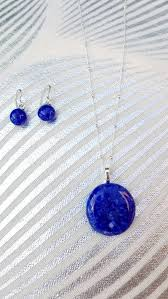 clear blue glass pendant necklace with