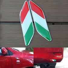 2pcs Car Italy Flag Italian Emblem Stickers Fender Car Decal For Fia Wish