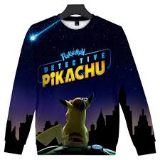 2019 New Pokemon Detective Pikachu 3D Print O-Neck Sweatshirts ...