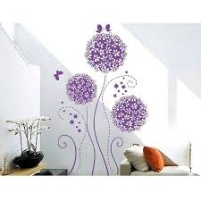 Purple Flower Balls And Butterflies Wall Decals Floral Removable Wall Stickers Murals For Living Room Bedroom Wish