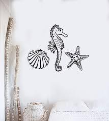 Wall Decal Marine Animal Seahorse Starfish Seashell Ocean Vinyl Sticke Wallstickers4you