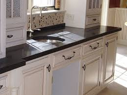 black concrete countertop with round
