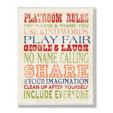 Shop The Kids Room By Stupell Playroom Rules In Four Colors Wood Wall Art 10 X 15 Proudly Made In Usa 10 X 15 Overstock 10790826
