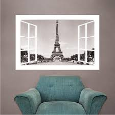 Paris Window Wall Decal France Decor For Apartment Bedroom Europe Eiff American Wall Designs