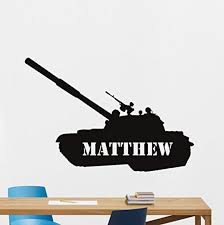 Amazon Com Personalized Tank Wall Decal Military Custom Name Panzer War Battle Car Vehicle Us Army Force Stencil Poster Vinyl Sticker Cool Movie Wall Art Kids Teen Room Bedroom Wall Decor Mural 5ss