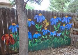 Nancy S Arts Crafts More Flowers On Fencing Garden Fence Art Fence Art Garden Mural