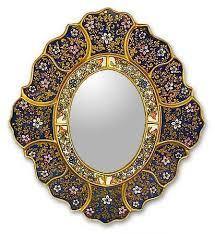 painted glass garden gold wall mirror