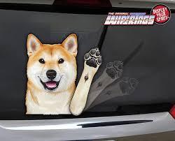 Shiba Inu Doge Waving Dog Decal Wipertag For Rear Windshield Wiper Wipertags