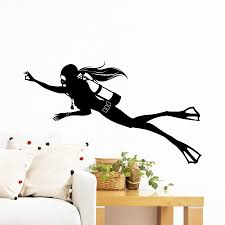 Female Diver Extreme Sports Diving Scuba Diver Deep Sea Ocean Wall Decal Removable Vinyl Wall Stickers For Living Room Home Decoration Wall Decals For Kids Rooms Wall Decals For Nursery From Onlybrand