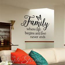 Family Where Life Begins And Love Never Ends Butterfly Custom Wall Quote 2 Quotes