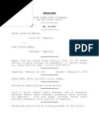 United States v. Ivan Powell, 4th Cir. (2012) | Appeal | Precedent