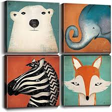 Amazon Com Toddler Wall Decor Cartoon Animals Canvas Prints Wall Art For Kids Room Home Decoration Cute Polar Bear Elephant Fox Zebra Painting Pictures Boys Room Framed Artwork Bedroom Bathroom 12x12 Inch 4pcs