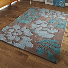 hnkg brown and blue fl rug