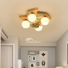 Ceiling Fairy Lights Bedroom Lamp Macarons Kids Room Solid Wood Windmill 4 Lighting Creative Modern Study Room
