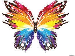 مجردة ألوان قوس قزح الفراشة تنزيل خلفية Hd