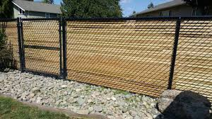 Cedar Slats In Chain Link Fence Chain Link Fence Fence Design Fence
