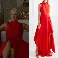 """Ada Stone wears this red Solace London """"Serafine"""" asymmetric pleated crepe  and chiffon gown on Dynasty 2x05 