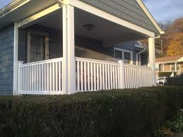Pro Fence Railing Handrails Front Porch White Vinyl Railing Installation In Freedom Pa
