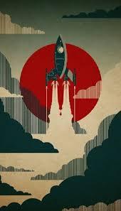 retro phone wallpaper rocket poster