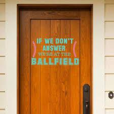 Front Door Baseball Softball Vinyl Decor Wall Decal Customvinyldecor Com