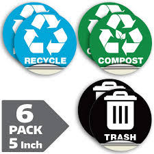 Amazon Com Recycle Sticker For Trash Can Bins Sign Decal 6 Pack 5 In Premium Self Adhesive Vinyl Laminated For Weatherproof Uv Resistant Encourage Recycling Indoor And Outdoor Office Products