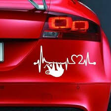 Sloth Heartbeat Sticker Funny Car Window Van Bumper 4x4 Jdm Novelty Vinyl Decal Ebay