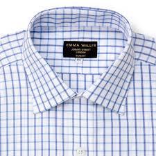 Sky/Blue Oxford Check Cotton Shirt ...