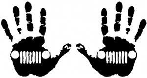 2 Pack Jeep Wave 1 Right 1 Left Handed Jeep Grill In Muddy Waving Hand Print Car Or Truck Window Decal Sticker Rad Dezigns