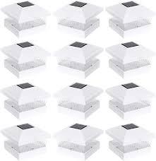 Solar Fence Post Cap Led Light For 5 X 5 Pvc Posts White 12 Pack Landscape Path Lights Amazon Com