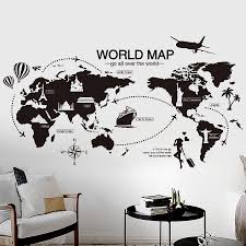Black World Map Wall Sticker Bedroom Office Artistic Background Removable Pvc Muurstickers Home Decor Kids Room Decoration Belecthleen