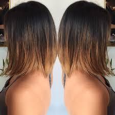 Brunette Balayage Ombre On Asian Hair Slightly Aline Bob Haircut