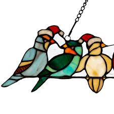santa birds on a wire stained glass