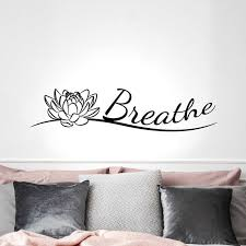 Indian Yoga Buddha Breathe Lotus Flower Vinyl Stickers Mural Yoga Studio Breathe Buddhism Decals Home Decoration Z406 Wall Stickers Aliexpress