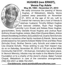 Veona-Fay-Adele Hughes | Obituary | Wetaskiwin Times