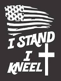 Amazon Com Stand For The Flag Kneel For The Cross Usa Die Cut Vinyl Window Decal Sticker For Car Truck Arts Crafts Sewing