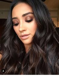 leather black hair and rose gold makeup