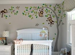 Boy Jungle Monkey Wall Decal Monkeys Birds And Name Decal Etsy