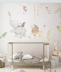 Reusable Fabric Wall Decal Safari Animals Nursery Wall Etsy Baby Room Wall Baby Boy Rooms Nursery Wall Decals
