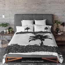 palm tree black and white duvet cover